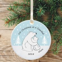 1st Christmas as a Grandad Ceramic Keepsake Decoration - Polar Bear Design